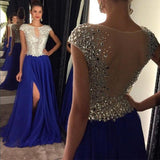 Cap Sleeve See Through Back Side Slit Royal Blue Shinning Sexy Long Prom Dresses, WG285 - Wish Gown