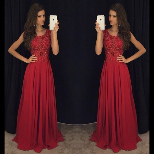 Red Cheap Formal A Line Modest Floor Length Chiffon Prom Dress, WG287