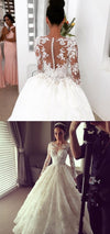Long Sleeves Elegant Inexpensive Bridal Long Wedding Dresses, WG663