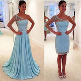 Blue See Through One Shoulder Long Sleeve Two Pieces Long Prom Dresses, WG295 - Wish Gown
