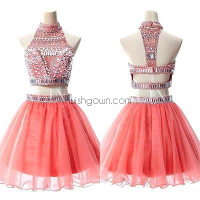 Sexy Coral Two Pieces Rhinestone Beaded homecoming prom dresses, CM0030