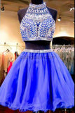 Sexy 2 pieces beaded Royal Blue short homecoming prom dresses, CM0028
