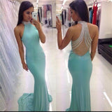 Popular Junior High Neck Mermaid Blue Beaded Sexy Long Evening Prom Dresses,PD0030