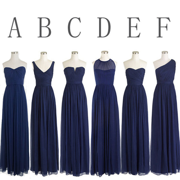 Classic Popular Navy Blue Mismatched Chiffon Formal Cheap Long Bridesmaid Dresses, WG302 - Wish Gown