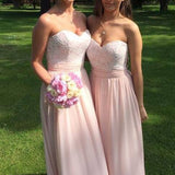 A Line Blush Pink Sweetheart Neckline Lace Chiffon Long Junior Bridesmaid Dresses, WG316 - Wish Gown