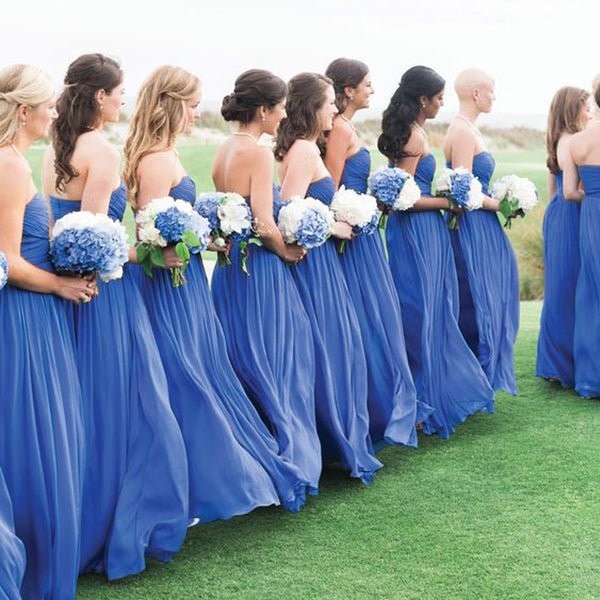 Blue Simple Formal Chiffon Floor Length Wedding Bridesmaid Dresses, WG317 - Wish Gown