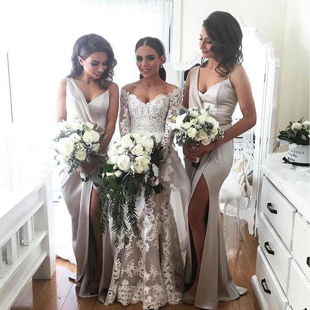 Elegant Sexy Unique Side Slit New Arrival Cheap Long Wedding Bridesmaid Dresses, WG319