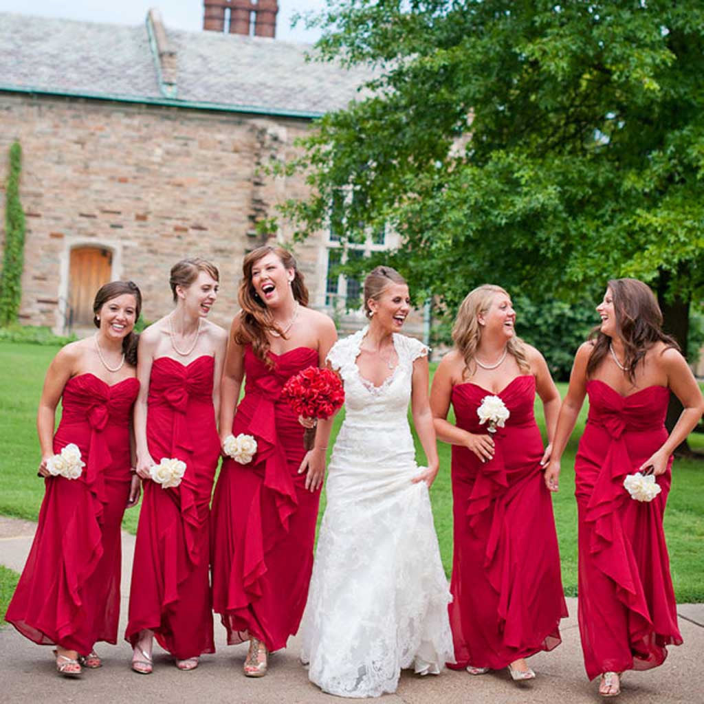 Red Chiffon Sweetheart Formal Pleating Cheap Wedding Bridesmaid Dresses, WG324