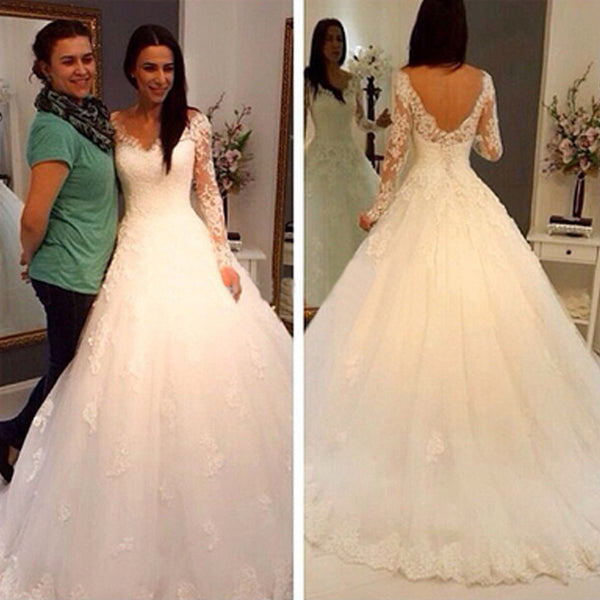 Charming V-Neck Long Sleeve Lace Wedding Party Dresses, Gorgeous Bridal Gown, WD0032 - Wish Gown