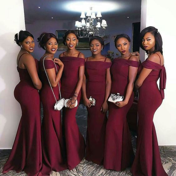 Burgundy Mermaid Sexy Floor Length Wedding Bridesmaid Dresses, WG332