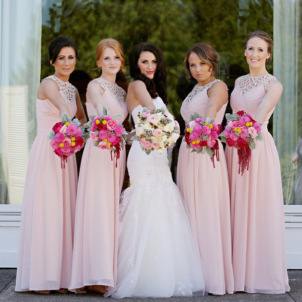 Pink Long Chiffon A Line Formal Cheap Wedding Party Bridesmaid Dresses, WG334