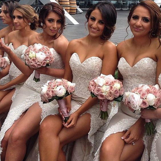 Charming Sweet Heart Lace Side Slit Pretty Long Wedding Bridesmaid Dresses, WG335 - Wish Gown