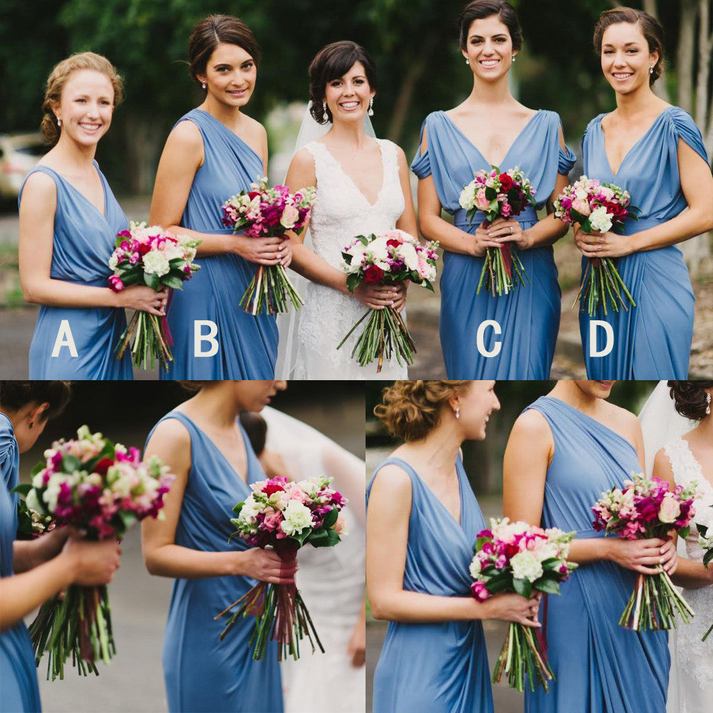 Blue Jersey Mismatched Long Charming Wedding Bridesmaid Dresses, WG341 - Wish Gown