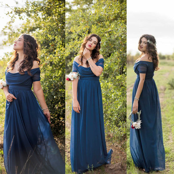 Short Sleeve Off Shoulder Long Charming Wedding Bridesmaid Dresses, WG343