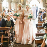 Charming Lace Top Blush Pink Chiffon Long Wedding Bridesmaid Dresses, WG348 - Wish Gown