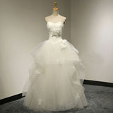 Chic Design Sweetheart White Tulle Wedding Party Dresses With Lace, Lace Up Bridal Gown, WD0034