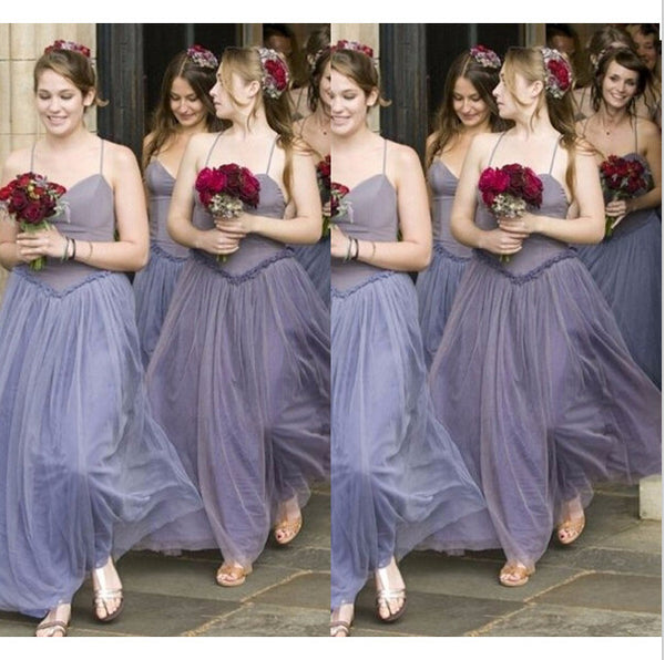 Spaghetti Strap Unique Pretty Long Wedding Bridesmaid Dresses, WG350
