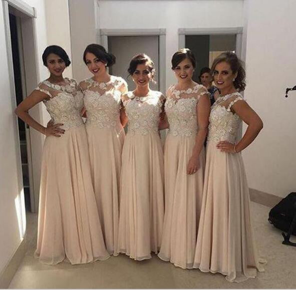 Lace Top Blush Pink Modest Long Wedding Bridesmaid Dresses, WG352
