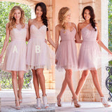 Mismatched Short Tulle Junior Cheap Wedding Bridesmaid Dresses, WG353