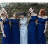 Royal Blue Cap Sleeve Lace Elegant Long Wedding Bridesmaid Dresses, WG363