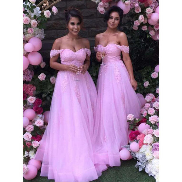 Pink Lace Off Shoulder Sweetheart Beautiful Long Bridesmaid Dresses, WG376