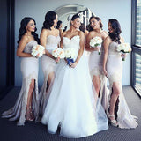 Affordable Mermaid Sweetheart Long Lace Wedding Bridesmaid Dresses, WG382 - Wish Gown
