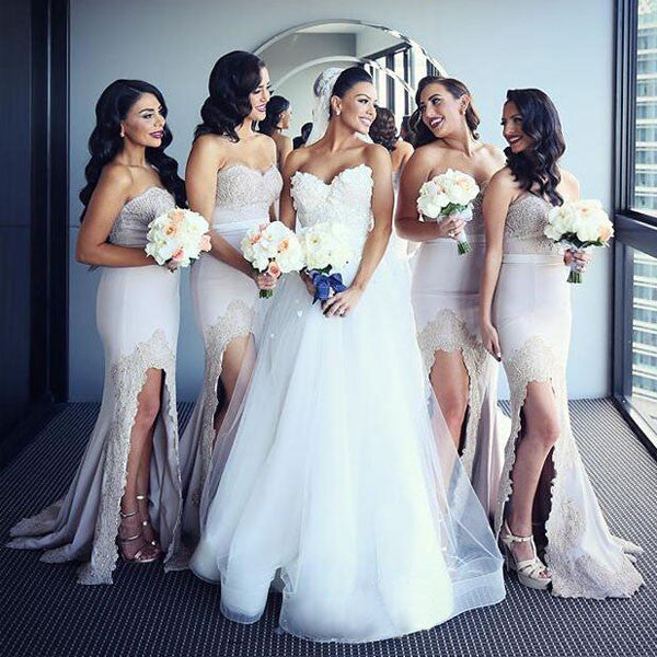 Affordable Mermaid Sweetheart Long Lace Wedding Bridesmaid Dresses, WG382