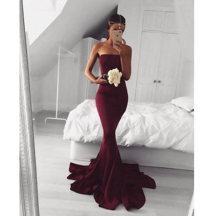 Sexy Mermaid Straight Neckline Elegant Long Wedding Bridesmaid Dresses, WG383