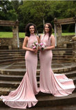 Jersey Halter Long Charming Sexy Open Back Mermaid Wedding Bridesmaid Dresses, WG384