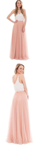 Popular Cheap Junior Off Shoulder Scoop Neck White Blush Pink Tulle Long Bridesmaid Dresses, WG40