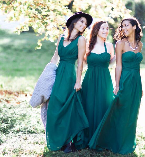 Teal Green Cheap Simple Mismatched Chiffon Floor-Length Long Bridesmaid Dresses, WG391