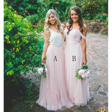 Long Light Pink Tulle Cheap Bridesmaid Dresses for Weddings, WG392
