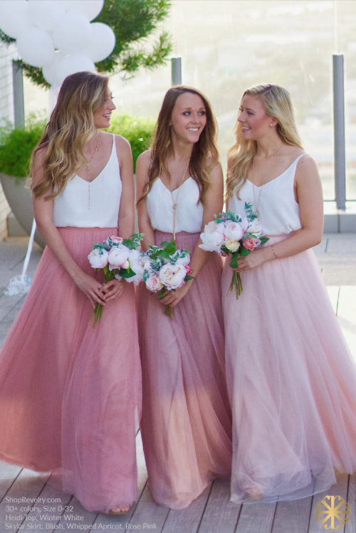 Popular Pink Tulle Cheap Floor Length Formal Bridesmaid Dresses for Weddings, WG393