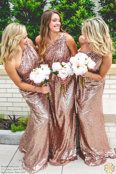 One Shoulder Rose Gold Sequin Popular Cheap Long Wedding Bridesmaid Dresses, WG394