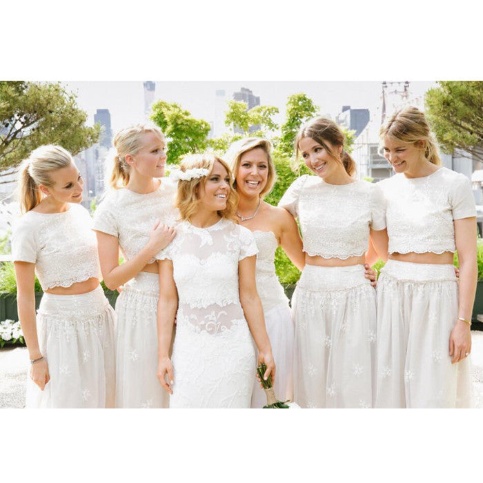 2 Pieces Short Sleeves Lace Pretty Long Wedding Bridesmaid Dresses, WG396 - Wish Gown