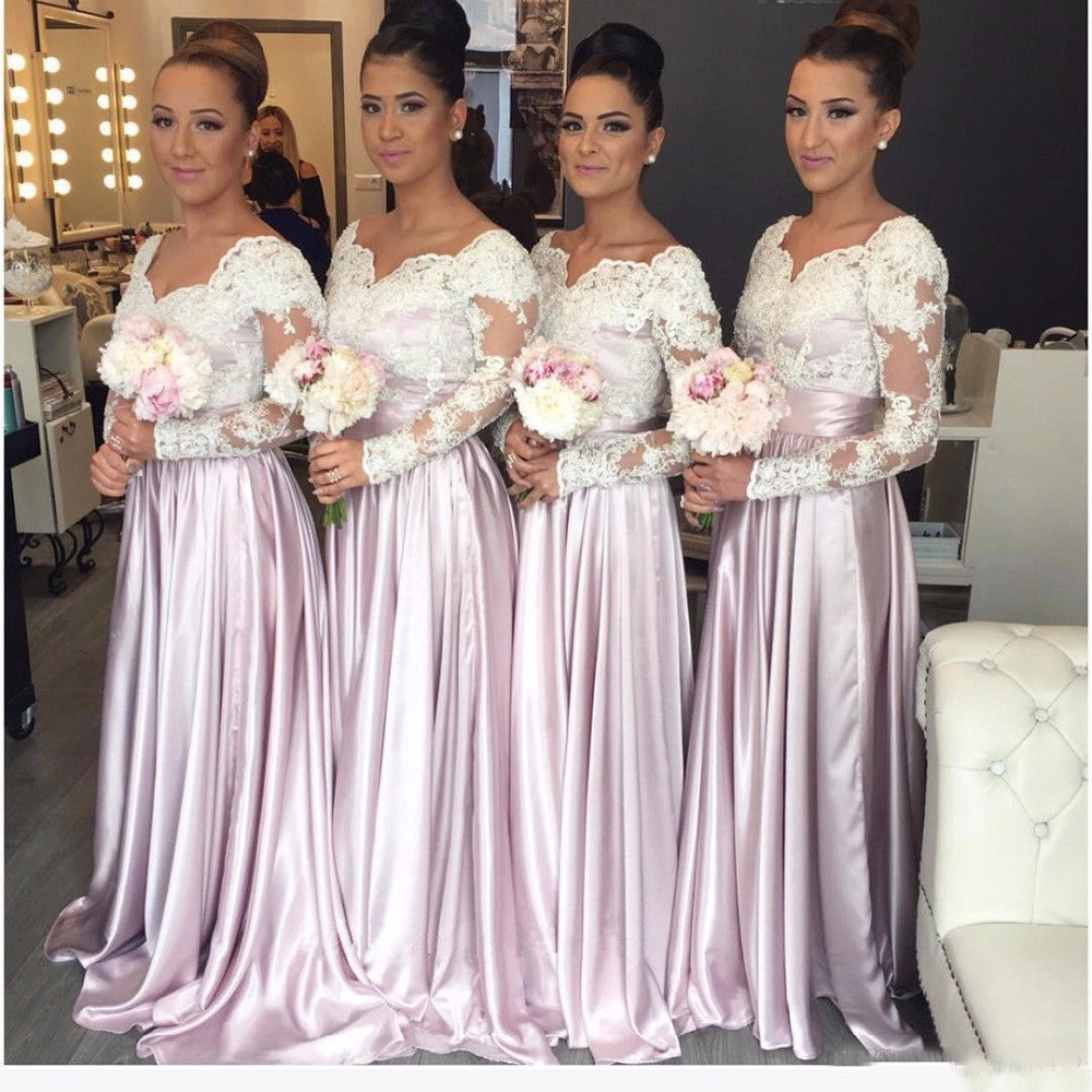 Long Sleeves Lace Cheap Long Wedding Party Bridesmaid Dresses, WG398