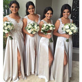 Top Lace Side Slit Long Sexy Wedding Party Bridesmaid Dresses, WG399