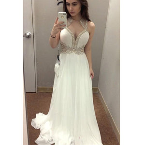 White Charming Chiffon Formal Inexpensive Long Prom Dresses, WG742