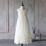 Spaghetti Ivory Lace Tulle Flower Girl Dresses, Popular Junior Bridesmaid Dresses, FG049