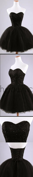 Formal lace little black dress, short homecoming prom dresses, CM0024 - Wish Gown