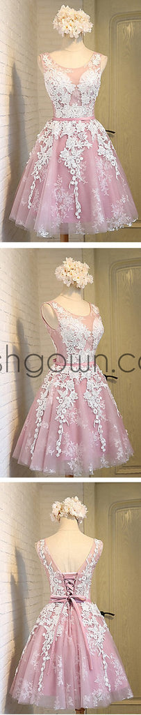 Off shoulder scoop neckline see through short pink homecoming prom dresses, CM0025