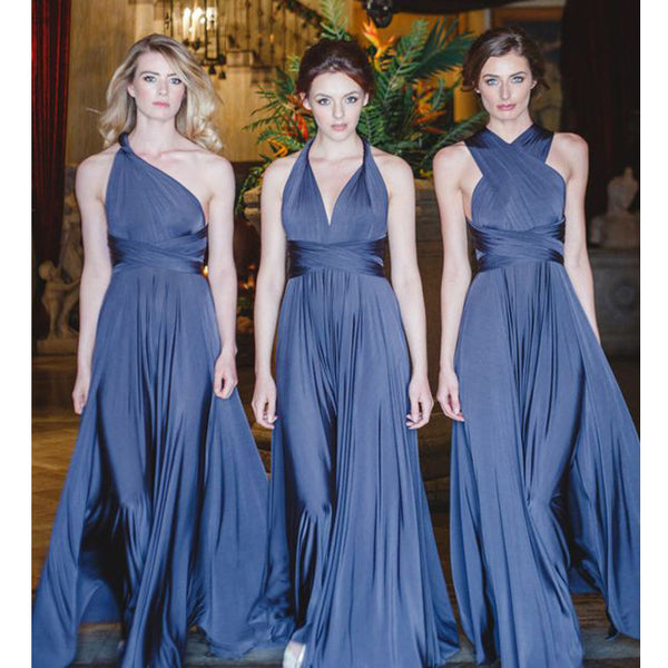Simple Convertible Cheap Floor-Length Formal Bridesmaid Dresses, WG171