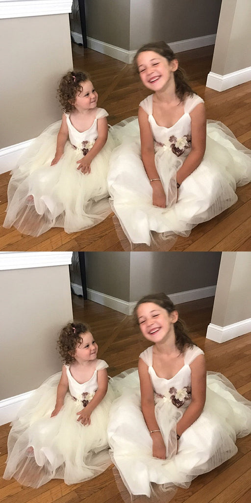 Ivory Tulle Flower Belt Flower Girl Dresses, Popular Little Girl Dresses, FG016