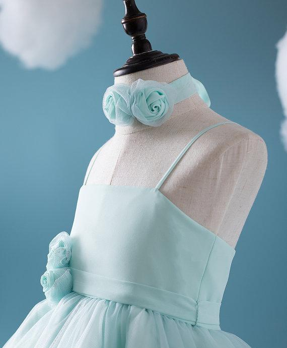 Cute Tiffany Blue Spaghetti Tulle Satin Flower Girl Dresses, Cheap Popular Little Girl Dresses, FG050 - Wish Gown