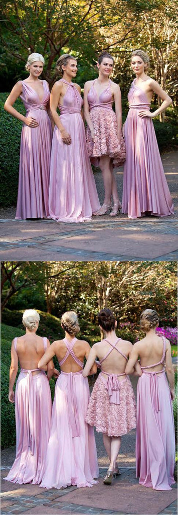 Fashion Convertible Jersey Cheap Pleating Floor-Length Morden Wedding Bridesmaid Dresses, WG41 - Wish Gown
