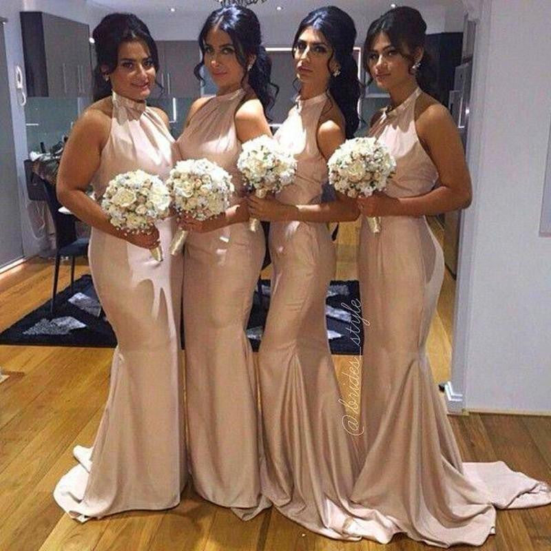 Charming Halter Mermaid Sexy Elegant Wedding Party Bridesmaid Dresses, WG400 - Wish Gown