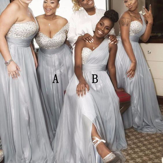 Beading Top One Shoulder Sliver/Light Grey Long Bridesmaid Dresses, WG402 - Wish Gown