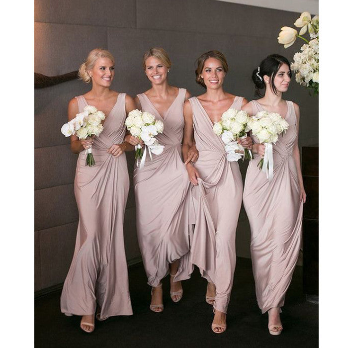 Elegant V Neck Simple Cheap Formal Long Bridesmaid Dresses, WG403 - Wish Gown