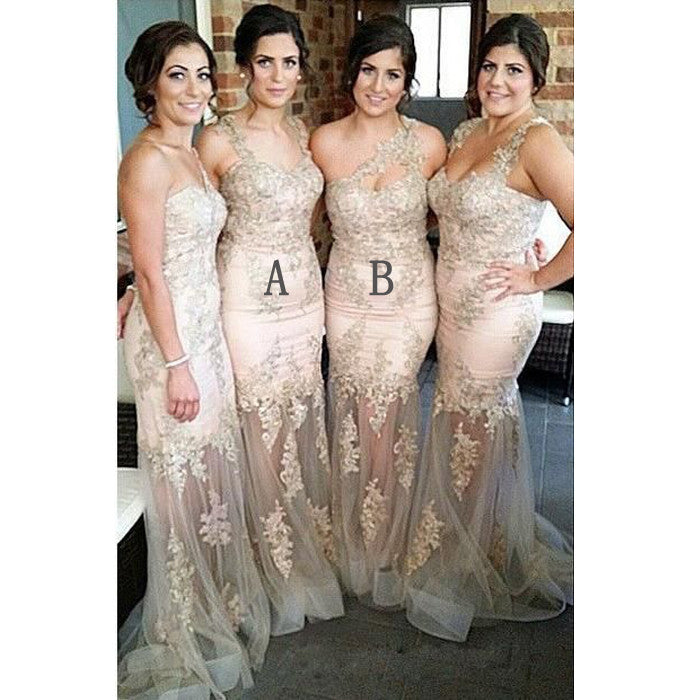 Mismatched Lace Applique Mermaid Sexy Long Bridesmaid Dresses, WG408