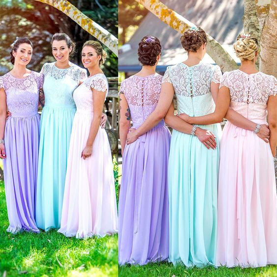 Cap Sleeve Small Round Neck Chiffon Lace Top Long Bridesmaid Dresses, WG409 - Wish Gown